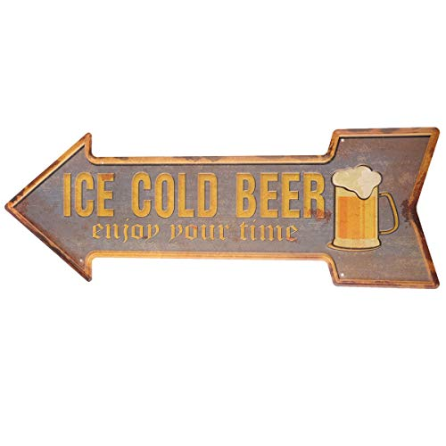 HANTAJANSS Bar Signs Retro Ice Cold Beer Signs for Pub Decoration]()
