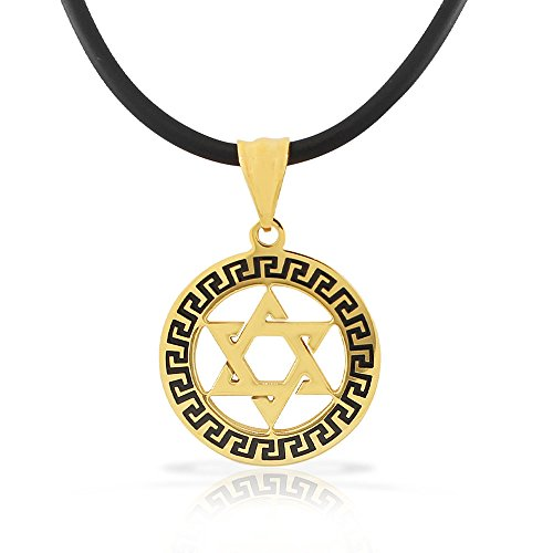 My Daily Styles Stainless Steel Yellow Gold-Tone Black Greek Key Jewish Star of David Men's Boys Pendant Necklace