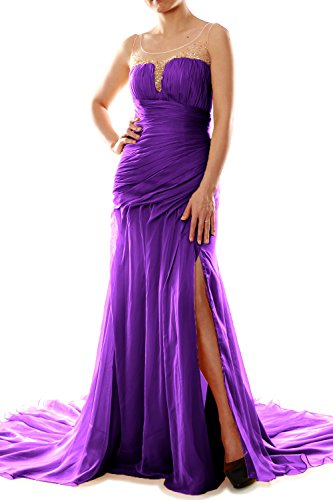 MACloth Women Mermaid Chiffon Long Prom Dress Formal Evening Party Ball Gown Morado