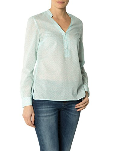 Tommy Hilfiger Damen Bluse Baumwolle Blusenshirt Gemustert, Größe: 38, Farbe: Grün
