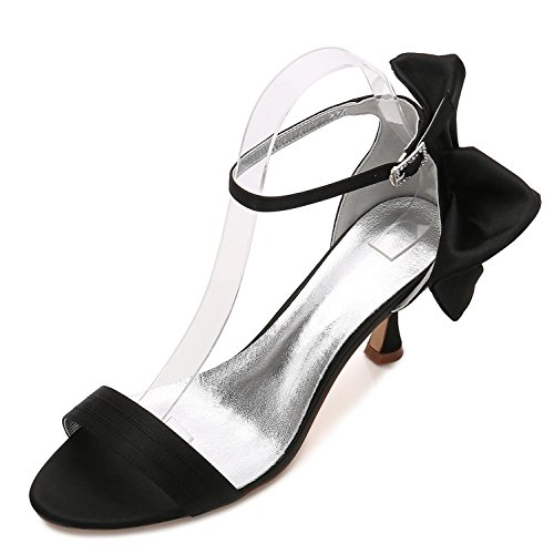 Bridesmaid Scarpe Office Prom Summer Ribbon Low 17061 8 Sposa da Heel high Donna Black su Summer Elegant Misura shoes da PESnqC