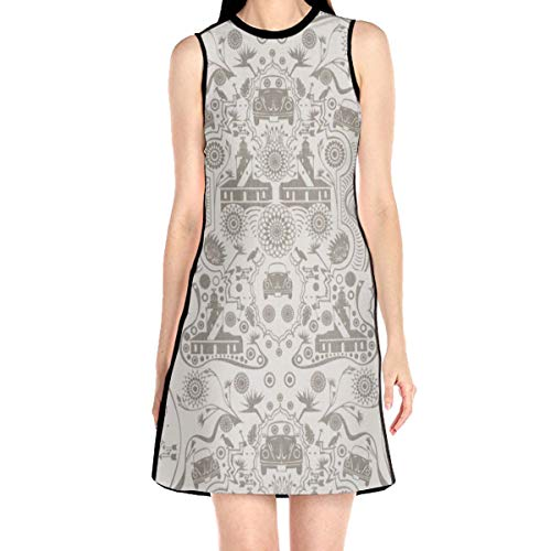 Laur Women¡¯s Sleeveless Scuba Sheath Dress Abstract Print Casual/Party/Wedding Dress L White