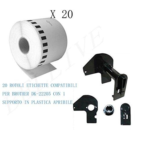 20 Rotoli Etichette adesive compatibile per Brother DK22205 DK-22205 30.48mt X 62mm QL-650TD/QL 1050/QL 1060N/QL 1000 series/QL 710/QL 720NW CON TELAIO/SUPPORTO BELLIVESTORE BL- DK22205
