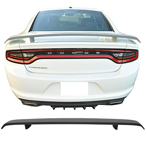 Trunk Spoiler Fits 2011-2019 Dodge Charger | Primer Matte Black ABS Car Exterior Trunk Spoiler Rear Wing Tail Roof Top Lid by IKON MOTORSPORTS | 2012 2013 2014 2015 2016 2017 2018