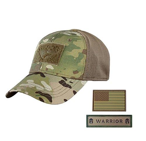 Condor Flex Tactical Cap (Multicam, S/M) + Free PVC Flag Patch (Fit Cap Camo Flex)