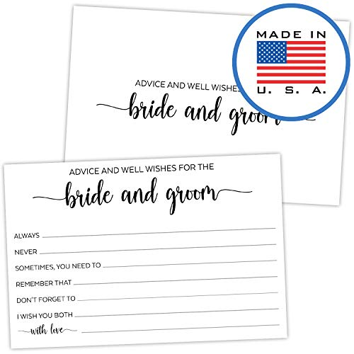 321Done Advice and Wishes for The Bride and Groom Cards (Pack of 50) for Wedding with Prompts Simple Elegant - Made in USA, White
