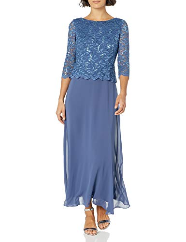 Alex Evenings Women's Long Mock Dress with Full Skirt Regular Sizes, Wedgewood, 14/Petite