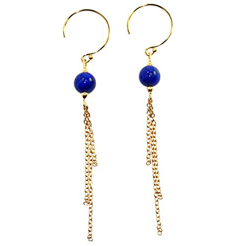 - Handmade 14-kt Gold-Filled  Brass multi strand chain earrings with Beads Lapis lazuli