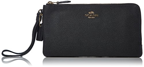 COACH Women's Polished Pebbled Double Zip Wallet LI/Black Checkbook Wallet