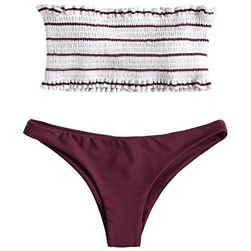 (ZAFUL Women's Strapless Striped Frilled Smocked Two Piece Bandeau Bikini Set (L, FireBrick) )