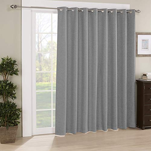 Eclipse Newport 84' x 100' Thermal Insulated Darkening Single Panel Drapes for Patio, for Living Room and Bedroom, Charcoal