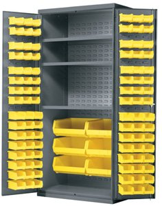 AkroBin Cabinet, Cabinet with 3 Shelves, and Louvered Panels on Back Wall and Doors with Bins