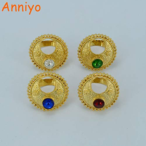 LTH12 Piece/Ethiopian Women Eretrian s African Ethiopia Gifts #028006 - Ring Size:Resizable Blue Stone