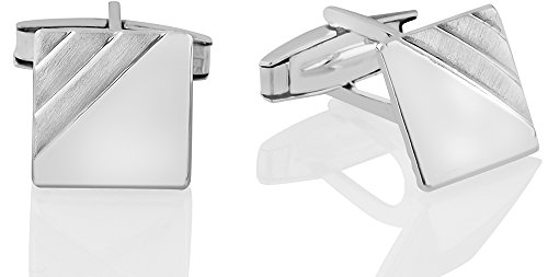 Italian Square Cufflinks - Father's Day Gift Mens Sterling Silver .925 Square Cufflinks, Italian Designed and Made, High Polished by Hand, with Satin finish Accents, with Secure Solid Hinges, Engravable, measuring 14mm