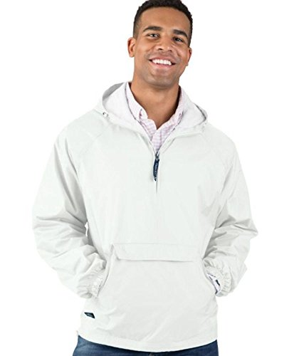 Charles River Apparel Wind & Water-Resistant Pullover Rain Jacket (Reg/Ext Sizes), White, L