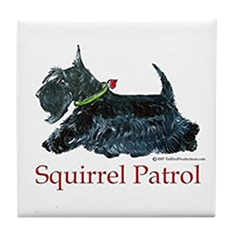 CafePress - Scottie Squirrel Patrol - Tile Coaster, Drink Coaster, Small Trivet - Scottie Dog Art