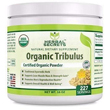 Herbal Secrets USDA Certified Organic Tribulus Powder 16 Ounces (Non-GMO) 227 Servings - Supports Lean Muscle and Strength Gain,Overall Health and Well Being, Promotes Men's Reproductive Health* by Herbal Secrets