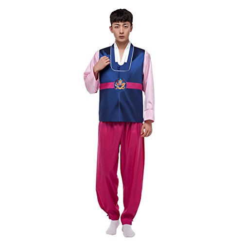 Ez-sofei Men's/Boys Korean Traditional Hanbok Sets Cosplay Costumes 3 Pcs (M, D-Dark Blue&Rose Red) (Costume Hanbok)