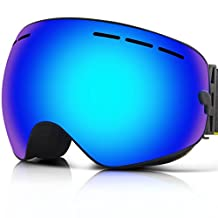 IceHacker Y1 Ski Snowboard Goggles with UV400 Protection Anti-fog Spherical Double Lens OTG Helmet Compatible Fix-point Anti-slip Strap Technology