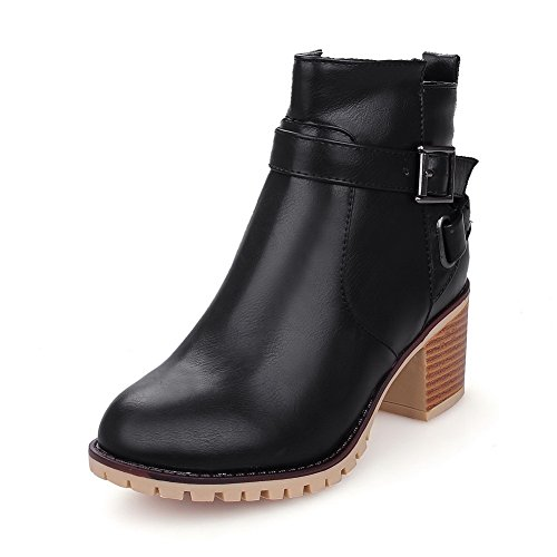 Women's Solid Kitten-Heels Round Closed Toe PU Zipper Boots With Crystals