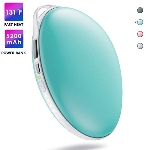 AOMAIS Hand Warmer Rechargeable, Electric Portable USB Hand Warmers & Reusable Pocket 5200mAh Power Bank, Double-Sided Quick Heating Keep Hands Warm, Best Winter Gifts for Christmas, Tiffany Blue (Tiffany Christmas)