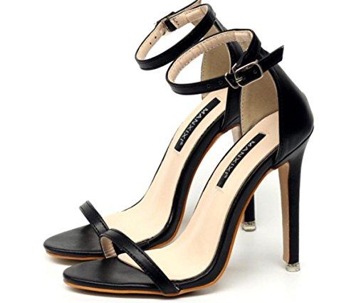 CSDM DONNA Sandali classici semplici Stiletto Heel Summer Open Toe Cavità Cavità scarpe da fibbia , black , 38
