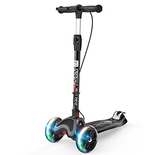 Scooters Kick Child Flash 4 Rounds 2-12 Years Old with Hand Brake for Boys/Girls/Children (Color : Black)