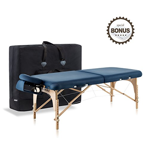 Dr.lomilomi Large Professional Hardwood Portable Massage Table Spa Bed 001 Package (001-Large Table, Queen blue)