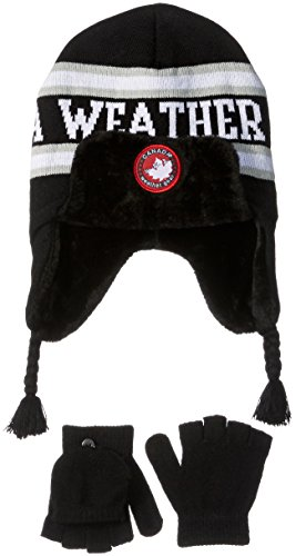 Canada Weather Gear Men's Ear Warmer Beanie with Side Tails with Convertible Mittens, Black, One Size (Hat Men Canada compare prices)