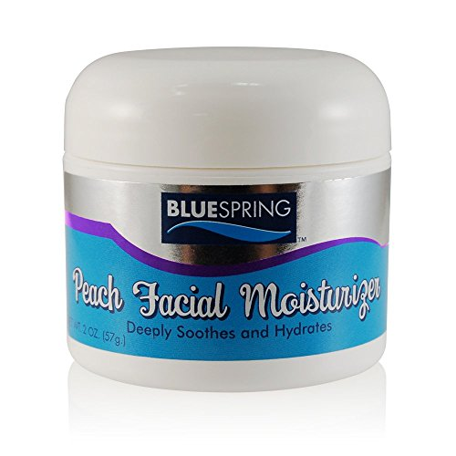 Peach Facial Moisturizer 2 oz Jar by BlueSpring – Natural Ingredients including 4 Essential Oils - Deeply Soothes, Softens and Moisturizes – Improves the Appearance of Skin (2 Jar Aloe Ounce)