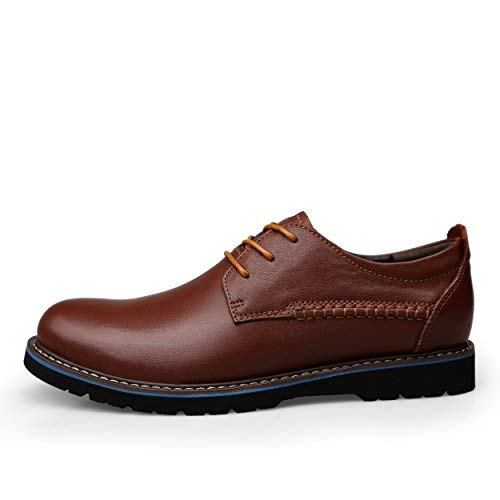 Mens Genuine Leather Dress Casual Lace-up Flat Oxfords Shoes Brown
