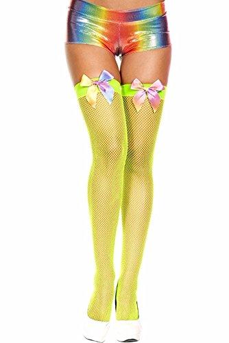 Green (Lime Neon) Rainbow Bow Diamond Fishnet Spandex Thigh -