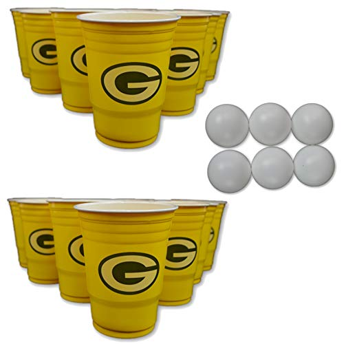 NFL Fan Shop Beer Pong Set. Rep Your Favorite Team with the Classic Game of Beer Pong at home or at the Tailgate Party - Comes with 22 Cups and 6 Ping Pong Balls (Green Bay Packers) -