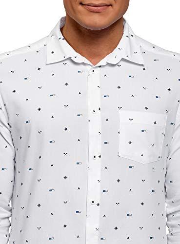 Homme Ultra 1079g Blanc Chemise Coton Oodji En Poitrine Avec Poche De qaZWnCxF4