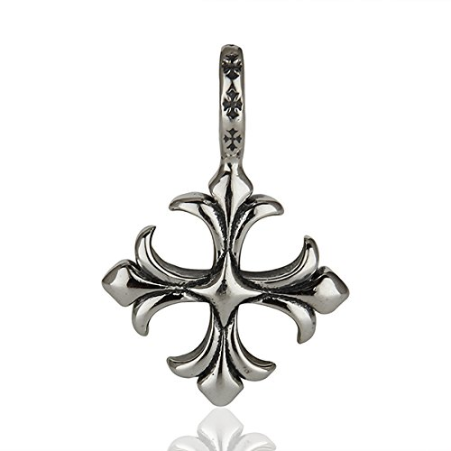Black Oxidized 925 Sterling Silver Fleur Di Lis Designer Pendant Jewelry for Women