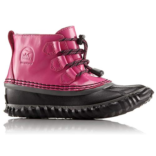 SOREL Youth Out n About Waterproof Leather Lace Boot - Pink Ice, Black (4 Big Kid M)
