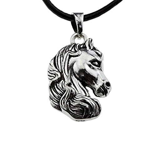 (Little Pony Antique Silver Horse Head Pendant Equestrian Lover Necklace Jewelry for Girl Teen Women)