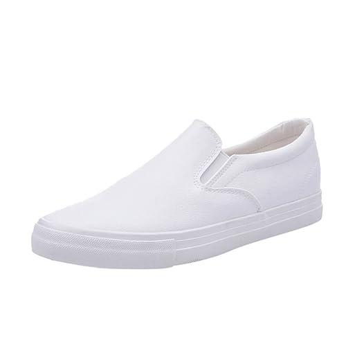 Logobeing Zapatillas Sin Cordones para Hombre de Marca Zapatillas de Deporte Sólidas Planas Mocasines Casuales (