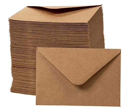 Mini Envelopes - 250-Count Gift Card Envelopes, Kraft Paper Business Card Envelopes, Bulk Tiny Envelope Pockets for Small Note Cards, Brown, 4 x 2.8 Inches