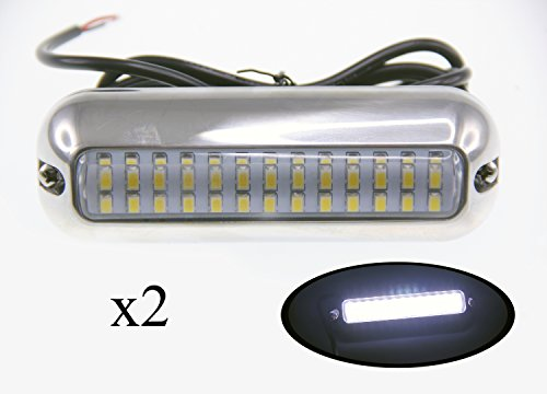 Pactrade Marine Pontoon Boat S.S.316 Cool LED Underwater Light, 416 lm, White, 2 Piece by Pactrade Marine