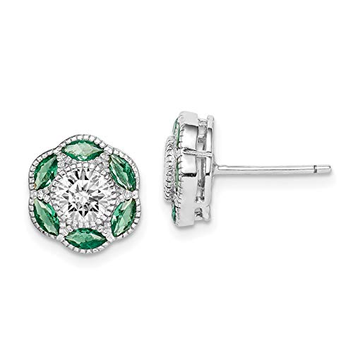 925 Sterling Silver Rhodium-plated Polished Green Created-Spinel & CZ Post ()