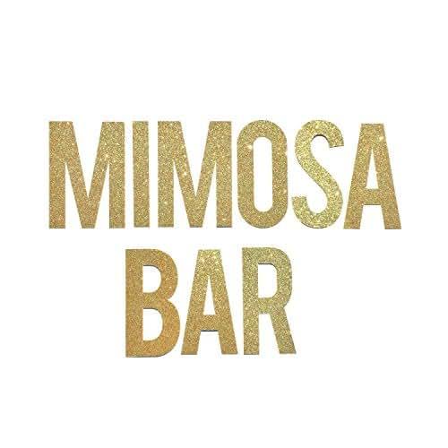 Mimosa bar banner sign bridal shower banner for Bar decor amazon