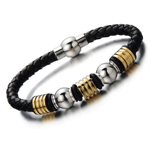 Genuine Braided Bracelet Stainless Magnetic