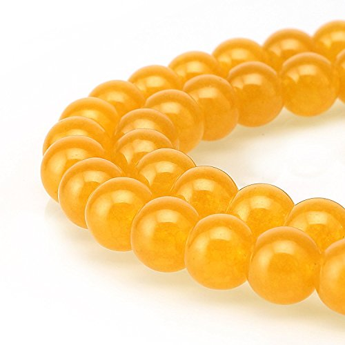 JARTC Stone Beads Yellow Jade Round Loose Beads for Jewelry Making DIY Bracelet Necklace (12mm)