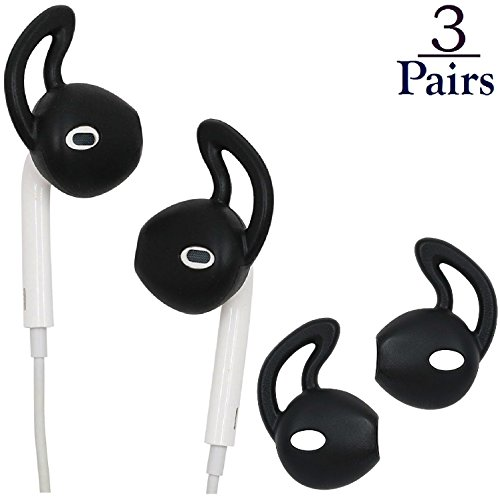 Josi Minea x3 Pairs [ Apple EarPods ] Anti-Slip Earbud Cover with Earhooks - Soft Silicone Tips with Ear Hook Attachments for Apple EarPod Earphones iPhone Headphones [ 3 Pairs - Black ]
