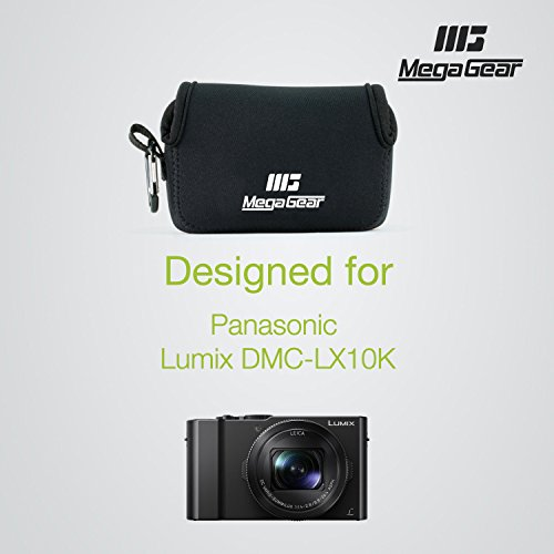 MegaGear ''Ultra-Light'' Neoprene Camera Case, Bag – Protective Cover for Panasonic Lumix DMC-LX10K - with Carabiner for Easy Carrying (Black)