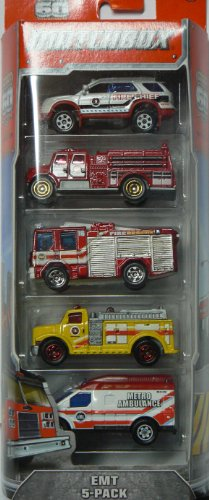 Matchbox 2013 EMT 5-Pack 2012 Ford Explorer Interceptor / International Pumper / Dennis Sabre Fire Engine / Highway Pumper / Ambulance