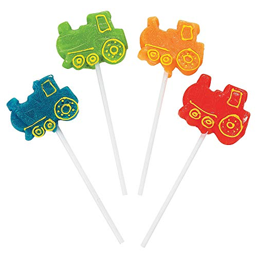 Lollipop Party Birthday - Train Shaped Assorted Suckers 12ct - 12 Pieces