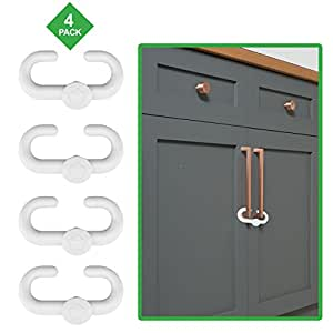 Child Safety Sliding Locks By Lebogner Pack Includes 4 Locks To Baby Proof Your Kitchen