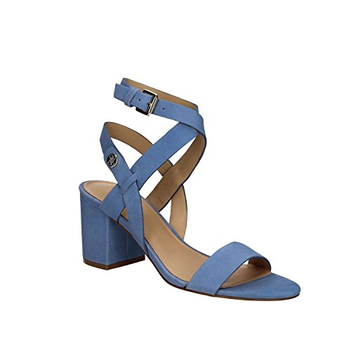 Guess Sandalia Mujer Najya tacón Cm 7 Suede Lugga Marrón Azul
